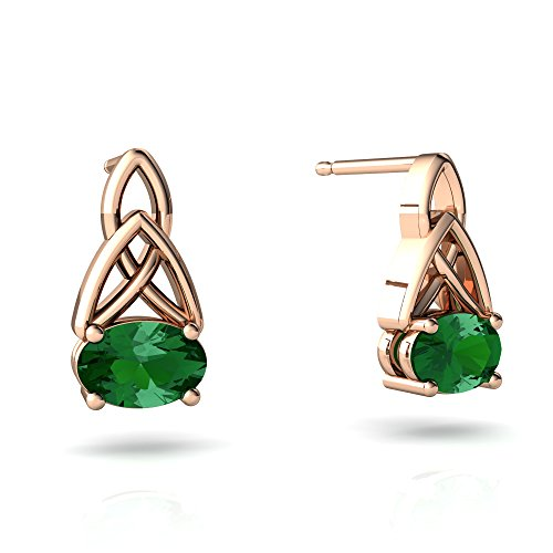 14kt Rose Gold Lab Emerald 6x4mm Oval Celic Trinity Knot Earrings