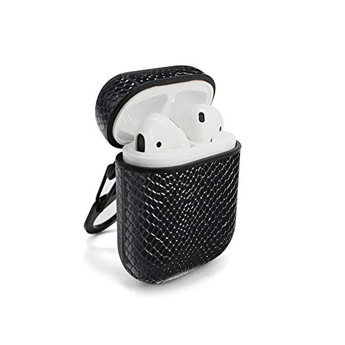 (LuxPods Snakeskin Design AirPods Cases | Premium Leather AirPods Cases in Snakeskin Style (Black Snakeskin))