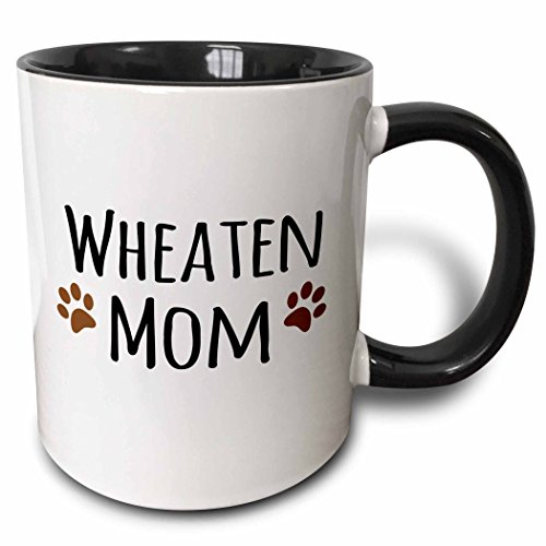 3dRose (mug_154216_4) Wheaten Dog Mom - Soft Coated Wheaten Terrier - Doggie by breed - doggy mama owner brown paw prints - Two Tone Black Mug, 11oz