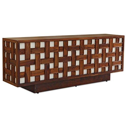 Kathy Kuo Home Tahla Global Bazaar Basketweave Brown White Media Cabinet