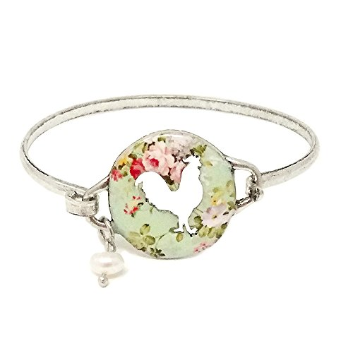 Emulily Floral Rooster Cutout Bangle Bar Wire Bracelet with Pearl Charm (Silver ()