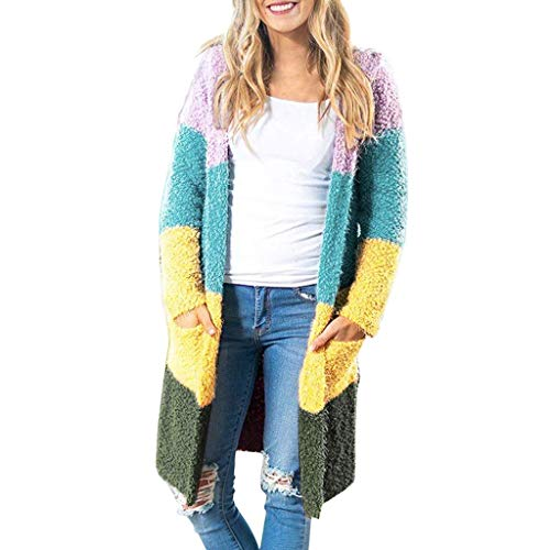 Loosebee◕‿◕ Women's Long Sleeve Rainbow Color Block Open Front Drape Oversized Knitted Sweater Cardigan with Pockets (Vans Jacket Leather)