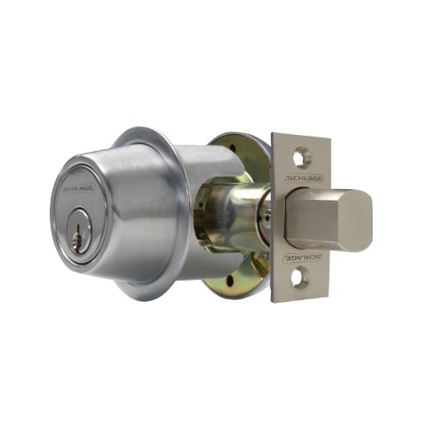 Cylinder Satin Chrome (Schlage B562 B500-Series Commercial Grade 2 Double Cylinder Keyed Entry Deadbolt, Satin Chrome)
