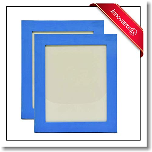 Innovatronix 2 Pieces Wooden Picture Frame 8x10 Inches NO Matting - Full Wall Mounting Hardware Included   (Light Blue) ()