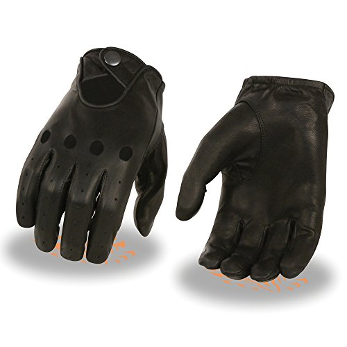 Milwaukee Leather Men's Perforated Gloves with Button Closure (Black, XXX-Large)