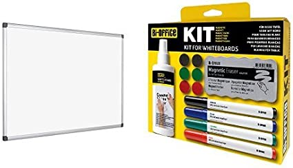 Bi-Office - Pack pizarra blanca magnética 1200 x 900 mm + Kit para ...