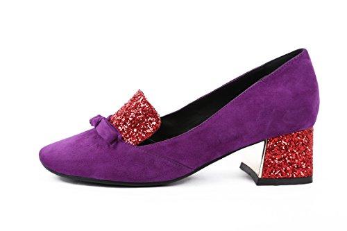 Mid Womens Purple Chunky Leather Pump Heel Shoe Suede MINIVOG gqWF4Axq
