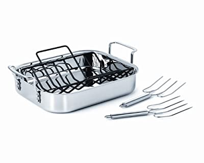 Calphalon Tri-Ply Stainless Steel 14-Inch Roaster with Rack and Lifters