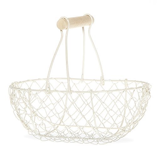 The Lucky Clover Trading Oblong Wire Mesh Fixed Handle Basket, Medium, Cream