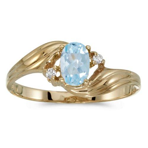 0.29 Carat (ctw) 10k Yellow Gold Oval Aquamarine and Diamond Bypass Swirl Cocktail Anniversary Fashion Ring (6 x 4 MM) - Size 9 ()