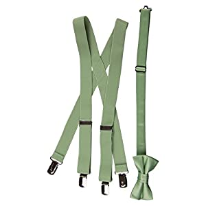 """Matching Adjustable Suspender and Bow Tie Sets in Toddler, Boys, Youth, and Adult Sizes (Sage Green, Toddler 25"""")"""