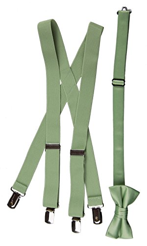 Green Polyester Boys Ties (Matching Adjustable Suspender and Bow Tie Sets in Toddler, Boys, Youth, and Adult Sizes (Sage Green, Boys 30