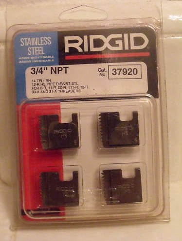 Ridgid 37920 Manual Pipe Threader Die, High Speed, for Stainless Steel Right Hand, 3/4-Inch (Die Threader Speed High)