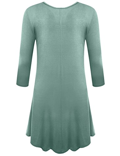 Sleeve Flare 3 Green Casual Loose Shirt Dress T Grayish Women's Plain Simple BELAROI 4 BE0fxS