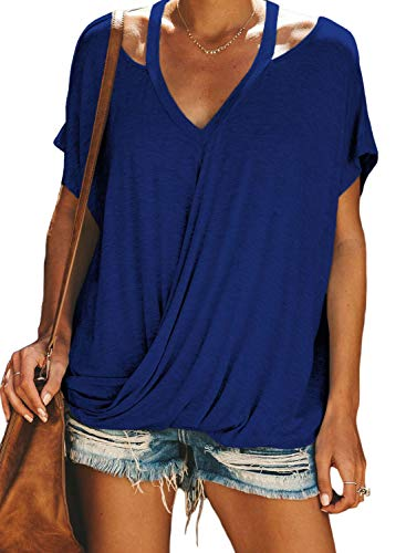 (Happy Sailed Women V Neck Summer Short Sleeves Solid Color Cut Out Drape Tee Juniors Office Tops X-Large Blue)