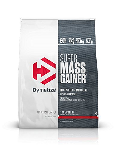 Dymatize Super Mass Gainer Protein Powder with 1280 Calories Per Serving, Gain Strength & Size Quickly, Strawberry, 12 lbs