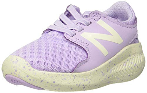 New Balance Girls' Coast V3 FuelCore Bungee Running Shoe, Violet glo/sea Salt, 7.5 M US Toddler - New Girls Balance