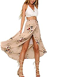 Women Boho Floral Beach Maxi Skirt Wrapped Swimsuit Cover Up Dress