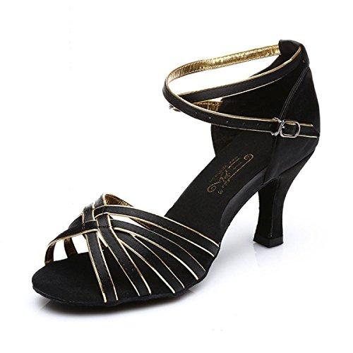 Professionnelles Satin Fille 38 plus Couleurs Danse Latines Salle Supérieure Chaussures Med Sandales Bal De Salsa Des Femmes a gX1FIqd