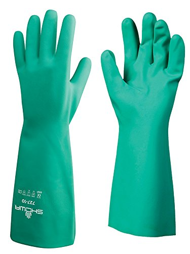 SHOWA 727-09 Nitrile Unlined Chemical Resistant Glove, Large (Pack of 12 Pairs) (Green Gloves Chemical)