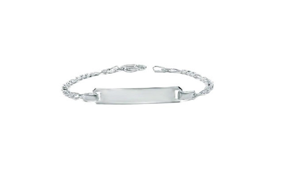 CloseoutWarehouse Sterling Silver Name Plate ID Figaro Chain Baby Bracelet