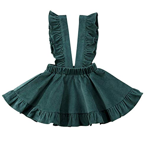 ModnToga Baby Girls Velvet Suspender Skirt Infant Toddler Ruffled Casual Strap Sundress Summer Outfit Clothes (Green, 90 (2-3T)) -