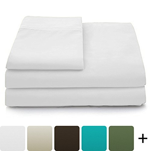 Luxury Bamboo Sheets - 4 Piece Bedding Set - High Blend From Organic Bamboo Fiber - Soft Wrinkle Free Fabric - 1 Fitted Sheet, 1 Flat, 2 Pillow Cases - Queen, White