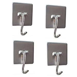 Daixers Stainless Steel Strong Adhesive Hooks With Rotatable Hook Tip,4-Hook(Max Load 4.4 pounds)