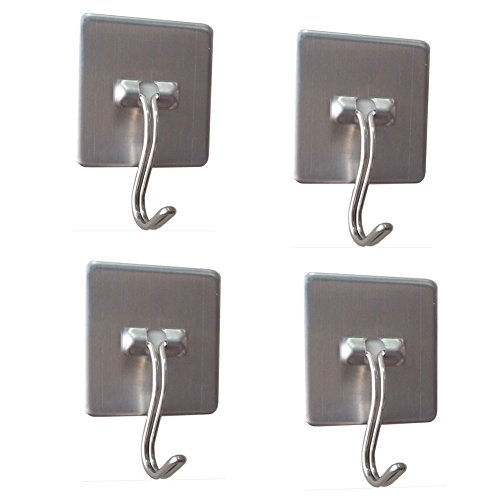 Daixers Stainless Steel Strong Adhesive Hooks With Rotatable Hook Tip,4-Hook(Max Load 4.4 pounds) (Pictures Of Gladiators)
