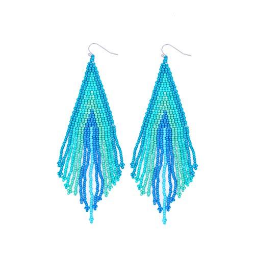 Bohemia Style Handmade Colorful Beaded Dangling Earrings Women Big Statement Fringe Earrings