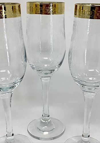 ad101f8224a2 Image Unavailable. Image not available for. Color: CRYSTAL GLASS CHAMPAGNE  GLASSES 7oz./200ml. GOLD PLATED SET OF 6 FLUTES WHITE