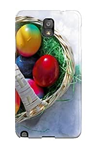 For Galaxy Note 3 Premium Tpu Case Cover Easter Eggs In The Snow Basket Red Green White Holiday Easter Protective Case