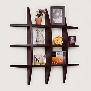 Usha Furniture Home Decor Globe Shape Floating Diy Wall Shelves Rack (Brown  Wall Shelf Rack