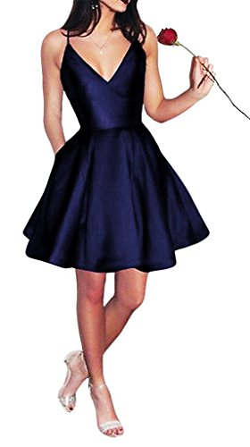 Bonnie Women's V-neck Homecoming Dress Short 2017 Spaghetti Straps Satin Prom Party Dresses with Pockets BS037 ()