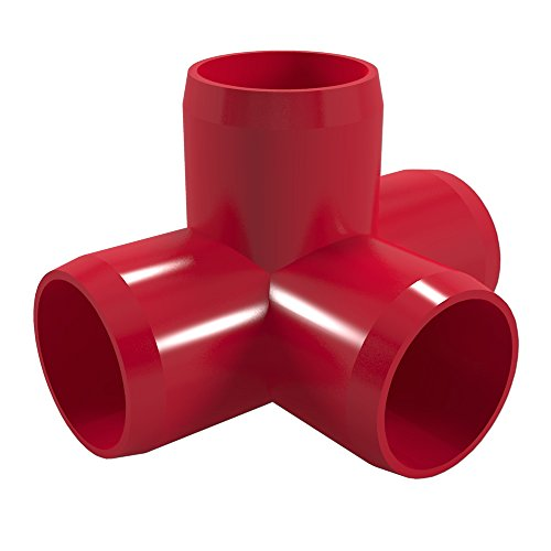 FORMUFIT F0124WT-RD-10 4-Way Tee PVC Fitting, Furniture Grade, 1/2