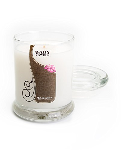 Baby Powder Candle - Small White 6.5 Oz. Highly Scented Jar Candle - Made with Natural Oils - Fresh & Clean Collection - Fresh Floral Scented Round Pillar