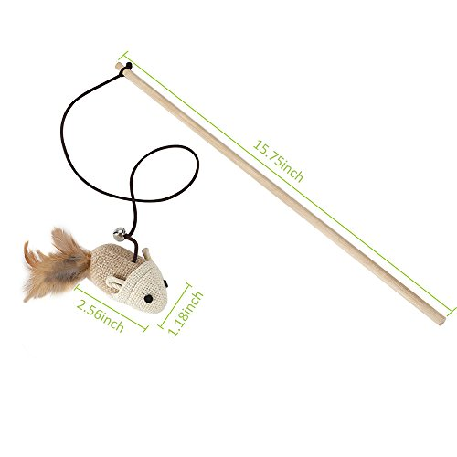 SlowTon Cat Teaser Wand and Catnip Toy, Wood Handle Attach Sisal Mouse Feather&bell with Bouncy String Kitten Rod Toy, Fish Shape Cats Kicker Scratcher Catnip Toy with Crinkle Material