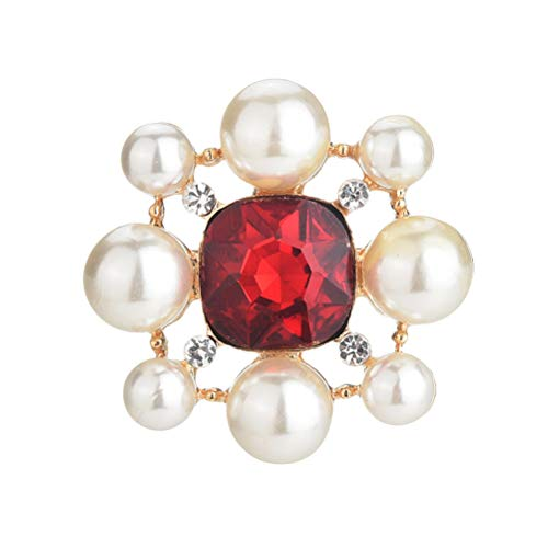 TENDYCOCO Ruby Pearl Brooch Clothing Crystal Boutonniere Banquet Decoration pin (red)