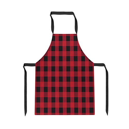 Pinbeam Apron Red Basket Buffalo Plaid Picnic Abstract Black Checkered with Adjustable Neck for Cooking Baking Garden
