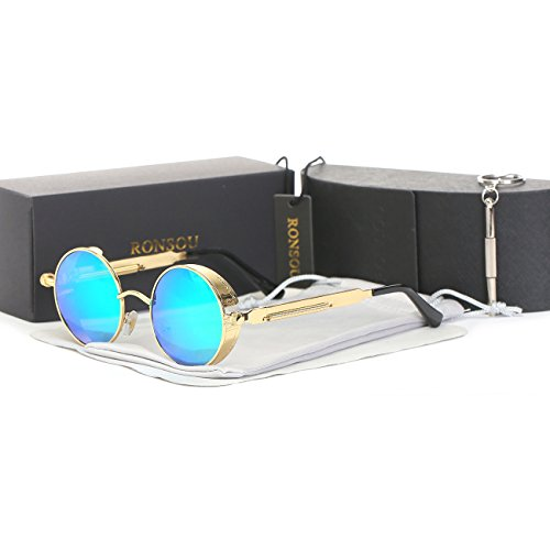 Ronsou Steampunk Style Round Vintage Polarized Sunglasses Retro Eyewear UV400 Protection Matel Frame golden frame/green - Style Steampunk Sunglasses