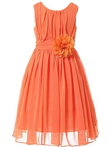 (Bow Dream Little Girls Elegant Ruffle Chiffon Summer Flowers Girls Dresses Junior Bridesmaids Orange)