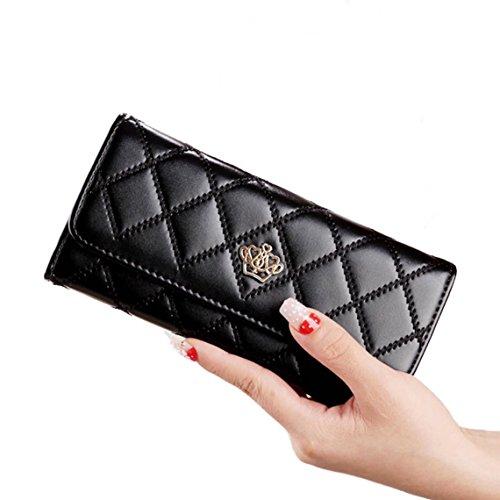 Women Retro Long Leather Wallet Black Pink - 2