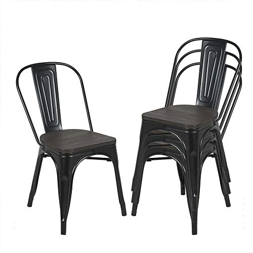 Bonzy Home Black Metal Kitchen Dining Chairs with Wooden Seat,Stackable Farmhouse Chair,Outdoor Patio Restaurant Chair,High Back Wide Seat,Set of 4