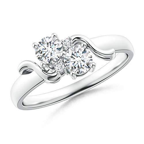 Vintage Style Two Stone Diamond Swirl Ring in 14K White Gold (4mm Diamond)