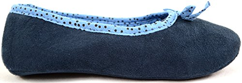 Mujer/mujer suave suela Bailarina Slip On Zapatillas Azul - azul marino