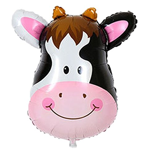 SECOND BIRTHDAY cow and pig baby girl party decoration with 12 ct pink balloons and 12 ct cow balloons and 12 ct white balloons and number 2 foil pink balloon total 39 count Sunrise Producton SG/_B0798SQL5Q/_US