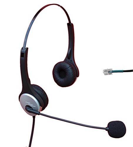 Voistek A2h20dhs Dual Ear Call Center Telephone Headset With Noise Canceling Microphone For Nortel Nec Mitel Aastra Siemens Ge 3Com Toshiba Intertel Sprint Talkswitch Shoretel Iwatsu Packet8 Esi Allworx Office Ip Phones