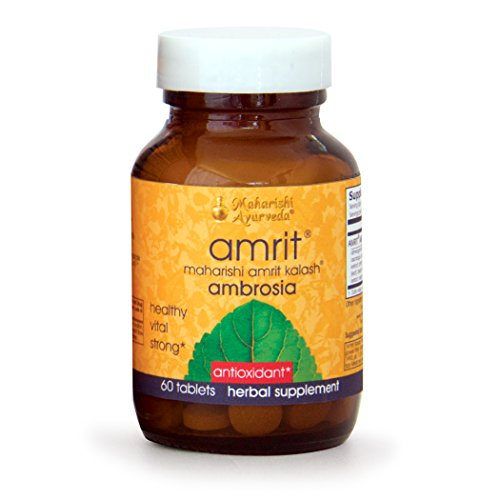 Amrit Kalash Ambrosia | 60 Herbal Tablets - 500 mg ea. | Full-Spectrum Natural Antioxidant Herbal Supplement | Powerful Support for Brain, Nerve & Immunity Health | Proven Chemotoxicity Support by Maharishi Ayurveda