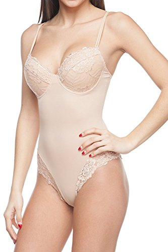 - Body Beautiful Women's Silky Bodysuit Shaper with Built-in Cups and Lace Details (Nude, M/36B)