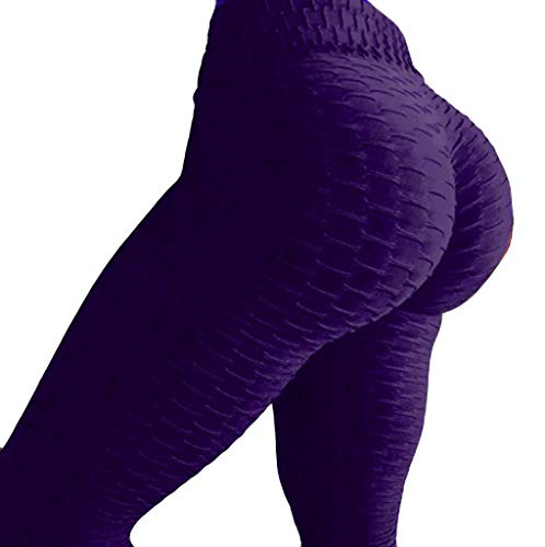 QueenMMWomens High Waist Textured Workout Leggings Booty Stretch Yoga Pants Slimming Ruched Tights Purple